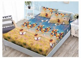 Set husa de pat din finet + 2 fete de perna pentru saltea de 160x200cm HPF61