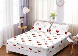 Set husa de pat din finet + 2 fete de perna pentru saltea de 160x200cm HPF83