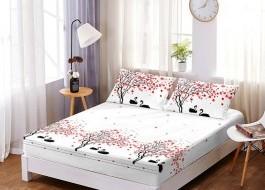 Set husa de pat din finet + 2 fete de perna pentru saltea de 160x200cm HPF96