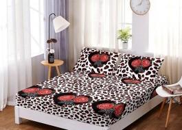 Set husa de pat din finet + 2 fete de perna pentru saltea de 160x200cm HPF98