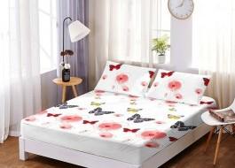Set husa de pat din finet + 2 fete de perna pentru saltea de 180x200cm HPF109