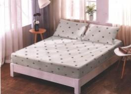 Set husa de pat din finet + 2 fete de perna pentru saltea de 180x200cm HPF111 Alba