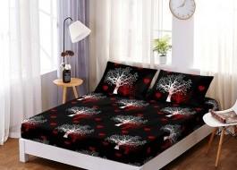 Set husa de pat din finet + 2 fete de perna pentru saltea de 180x200cm HPF159