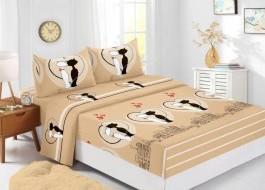 Set husa de pat din finet + 2 fete de perna pentru saltea de 180x200cm HPF325