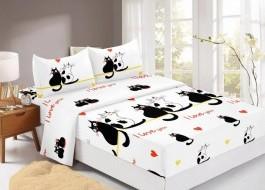 Set husa de pat din finet + 2 fete de perna pentru saltea de 180x200cm HPF329