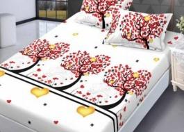 Set husa de pat din finet + 2 fete de perna pentru saltea de 180x200cm HPF65