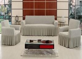Set Husa elastica pentru canapea 3 locuri si 2 fotolii, bumbac elasticizat, cu volan, Gri