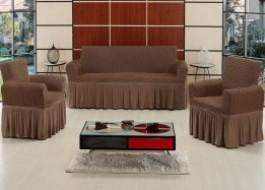 Set Husa elastica pentru canapea 3 locuri si 2 fotolii, bumbac elasticizat, cu volan, Maro Inchis