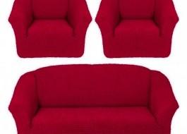 Set Husa elastica pentru canapea 3 locuri si 2 fotolii, material creponat, Bordo
