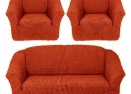 Set Husa elastica pentru canapea 3 locuri si 2 fotolii, material creponat, Caramiziu
