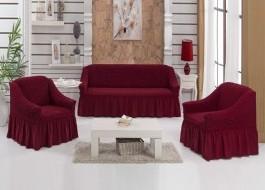 Set Husa elastica pentru canapea 3 locuri si 2 fotolii, material creponat, cu volan, bordo(6055)