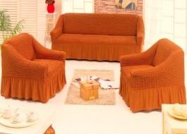 Set Husa elastica pentru canapea 3 locuri si 2 fotolii, material creponat, cu volan, caramiziu(6080)