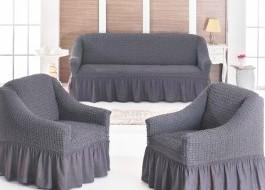 Set Husa elastica pentru canapea 3 locuri si 2 fotolii, material creponat, cu volan, gri inchis(6049)
