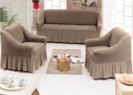 Set Husa elastica pentru canapea 3 locuri si 2 fotolii, material creponat, cu volan, Maro (cafea cu lapte) 6082