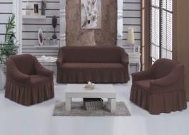 Set Husa elastica pentru canapea 3 locuri si 2 fotolii, material creponat, cu volan, maro inchis(6057)