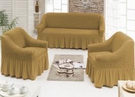 Set Husa elastica pentru canapea 3 locuri si 2 fotolii, material creponat, cu volan, Maro(coniac) (6019)