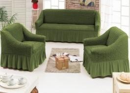 Set Husa elastica pentru canapea 3 locuri si 2 fotolii, material creponat, cu volan, verde(6016)