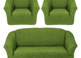 Set Husa elastica pentru canapea 3 locuri si 2 fotolii, material creponat, Verde