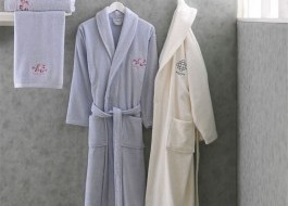 Set matrimonial 2 halate baie + prosoape Azalee - Blue, Cream