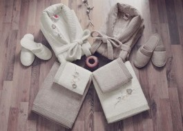 Set matrimonial bambus si bumbac, Cotton Box, Ecru/Maro