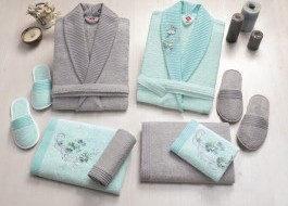 Set matrimonial bambus si bumbac, Cotton Box, Gri/Mint