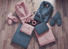 Set matrimonial bambus si bumbac, Cotton Box, Roz Pudra/Bleumarin