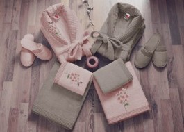 Set matrimonial bambus si bumbac, Cotton Box, Roz Pudra/Bej