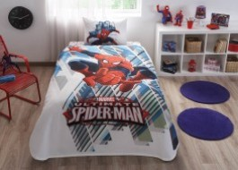 Set pique (cuvertura + cearceaf pat + fata perna) Disney Spiderman