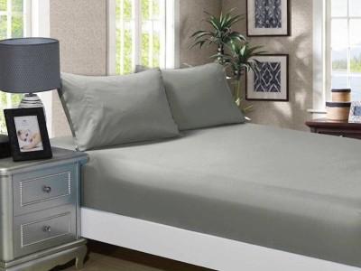 Cearceaf de pat cu elastic si 1 fata perna, bumbac 100%, 100x200cm, Gri, Majoli by Bahar Tekstil