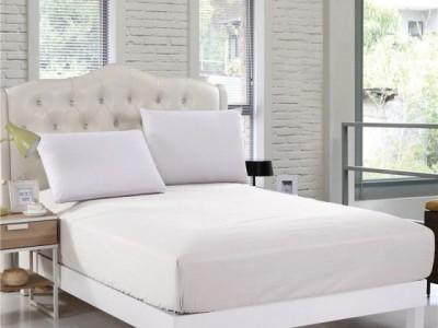 Cearceaf de pat cu elastic si 2 fete perna, bumbac 100%, 140x200cm,Alb, Majoli by Bahar Tekstil