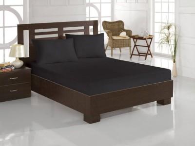 Cearceaf de pat cu elastic si 2 fete de perna, bumbac 100%, 180x200cm, Negru, Majoli by Bahar Tekstil