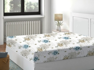 Cearceaf de pat cu elastic bumbac 100%,140x200cm, Floral Bleu