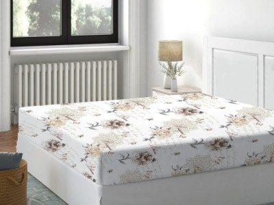 Cearceaf de pat cu elastic bumbac 100%,160x200cm, Floral Bej Deluxe Pucioasa
