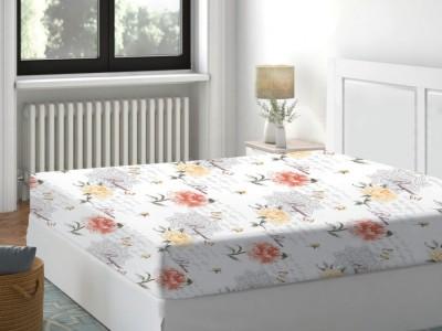 Cearceaf de pat cu elastic bumbac 100%,160x200cm, Floral Peach Deluxe Pucioasa