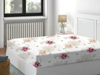 Cearceaf de pat cu elastic bumbac 100%,160x200cm, Floral Roz