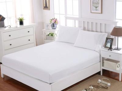 Cearceaf de pat cu elastic+2 fete de perna, bumbac 100%, 160x200cm+30cm, Alb Majoli by Bahar Tekstil