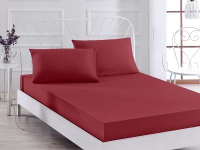 Cearceaf de pat cu elastic+2 fete de perna, bumbac 100%, 160x200cm, Bordo