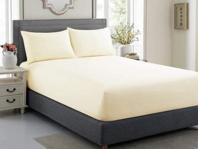 Cearceaf de pat cu elastic + 2 fete perna, bumbac 100%, 140x200cm+30cm, Crem