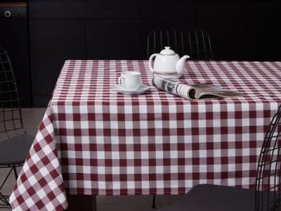 Fata de masa carouri bumbac 100%, 160x220cm, Eponj Home, Kareli Bordo/Alb (Claret Red)
