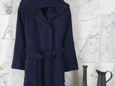 Halat de baie cu gluga, bumbac 100%,Class Home Collection, marime S/M, Linea Albastru