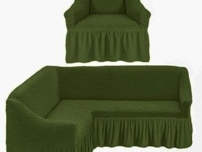 Set Husa elastica din material creponat, cu volan, pentru coltar + fotoliu, Verde