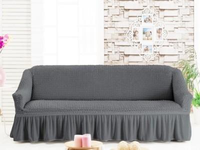 Husa elastica din material creponat, cu volan, pentru canapea 3 locuri, Gri închis (6049)