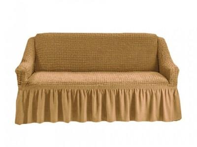 Husa elastica creponata, cu volan, canapea 3 locuri, Maro(coniac)