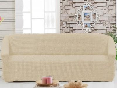 Husa elastica din material creponat, pentru canapea 3 locuri, Ecru (Eqru)