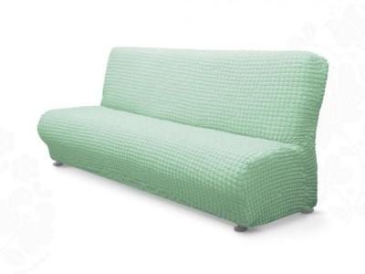 Husa elastica din material creponat, pentru canapea 3 locuri fara brate, Gri/Bleu