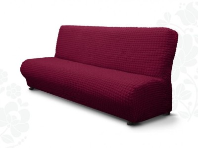 Husa elastica din material creponat, pentru canapea 3 locuri fara brate, Bordo