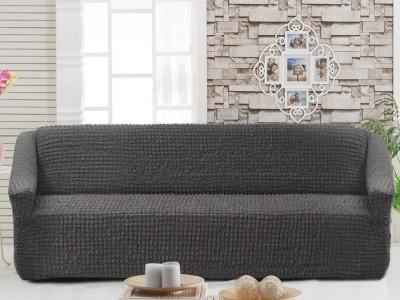 Husa elastica din material creponat, pentru canapea 3 locuri, Gri Antracit (Antrasit)