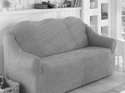 Husa elastica din material creponat, pentru canapea 3 locuri, Gri deschis (Grey)