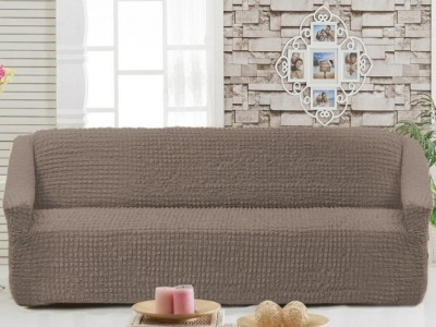 Husa elastica din material creponat, pentru canapea 3 locuri, Maro Deschis (Light Brown)