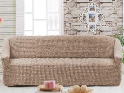 Husa elastica din material creponat, pentru canapea 3 locuri, Maro Deschis (Taupe)